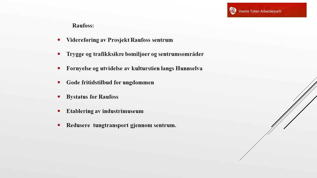 Raufoss: Videreføring av Prosjekt Raufoss sentrum. Trygge og trafikksikre bomiljøer og sentrumsområder.