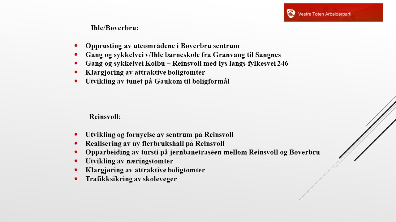 Ihle/Bøverbru: Opprusting av uteområdene i Bøverbru sentrum. Gang og sykkelvei v/Ihle barneskole fra Granvang til Sangnes.