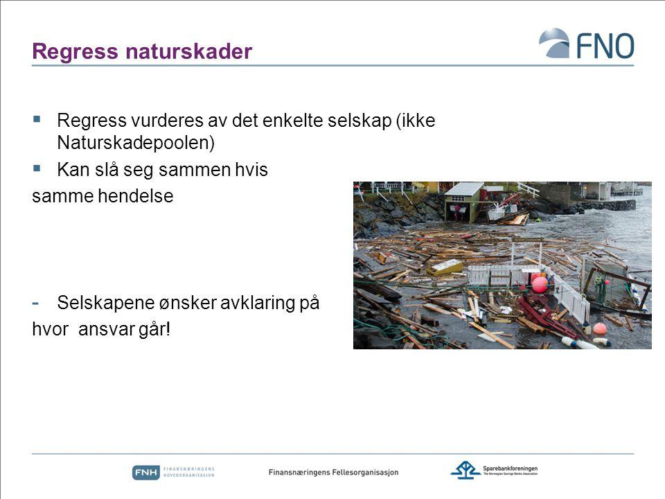 Regress naturskader Regress vurderes av det enkelte selskap (ikke Naturskadepoolen) Kan slå seg sammen hvis.