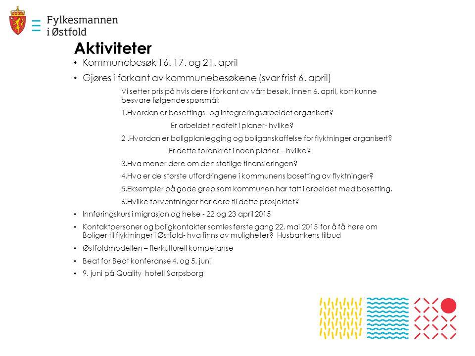 Aktiviteter Kommunebesøk 16. 17. og 21. april