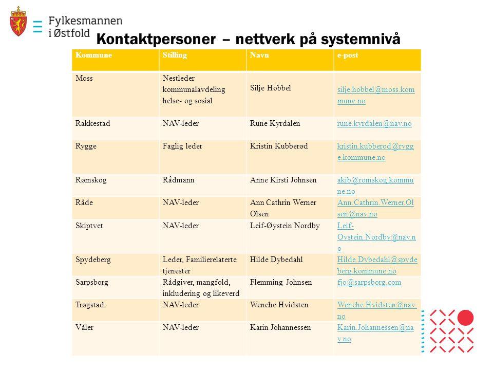 Kontaktpersoner – nettverk på systemnivå
