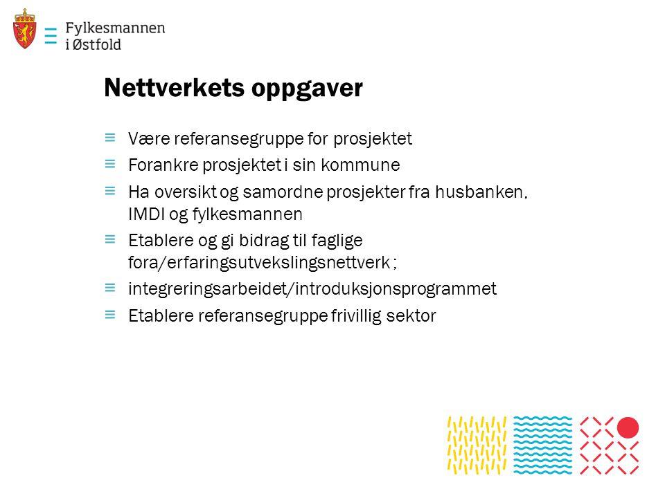 Nettverkets oppgaver Være referansegruppe for prosjektet