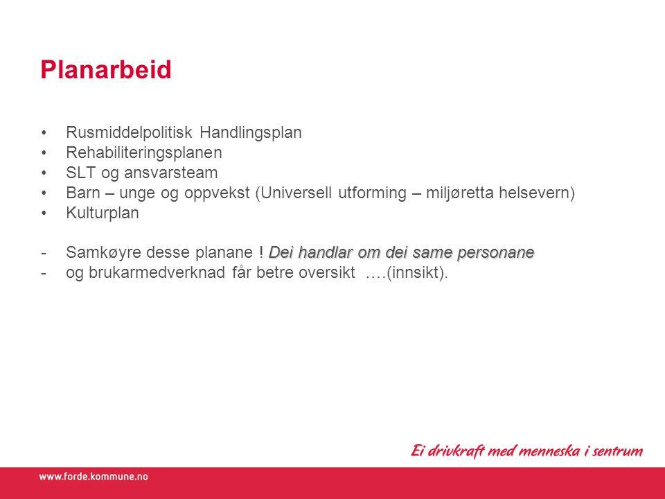 Planarbeid Rusmiddelpolitisk Handlingsplan Rehabiliteringsplanen