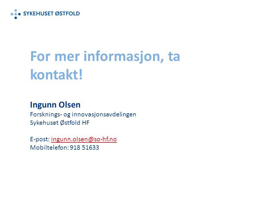 For mer informasjon, ta kontakt!