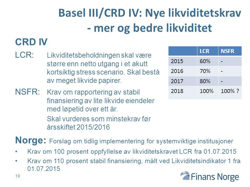 Basel III/CRD IV: Nye likviditetskrav - mer og bedre likviditet