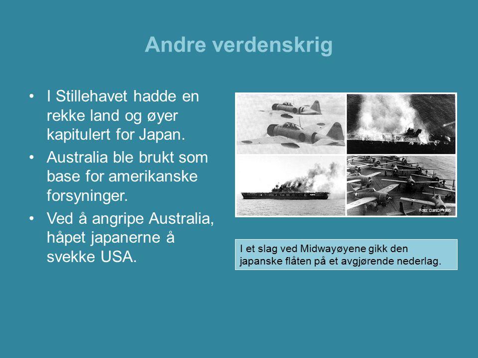Andre verdenskrig I Stillehavet hadde en rekke land og øyer kapitulert for Japan. Australia ble brukt som base for amerikanske forsyninger.