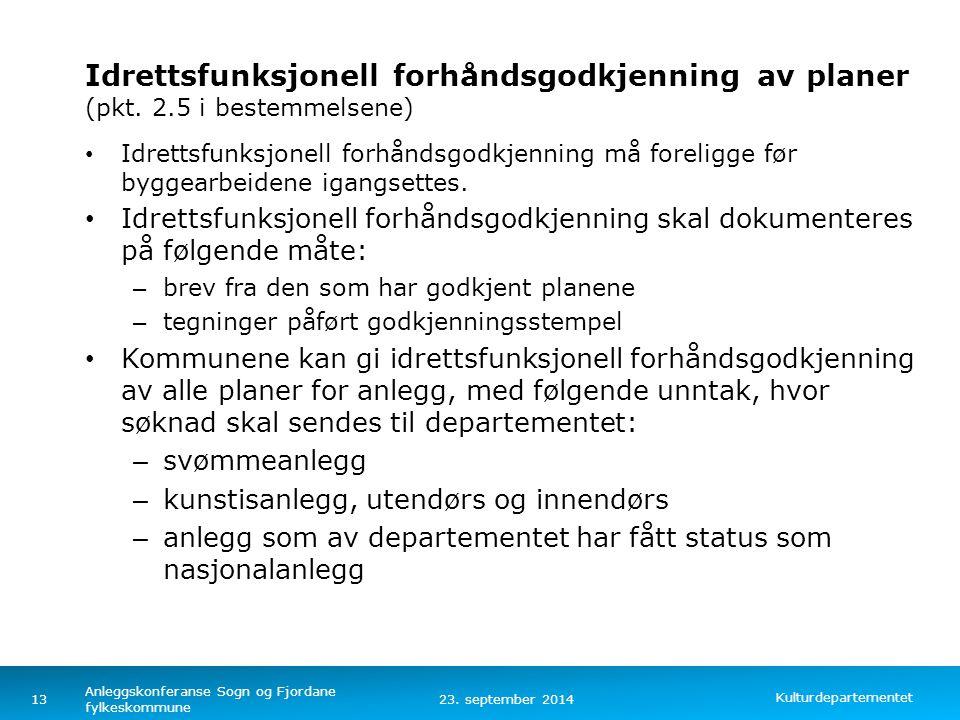 Idrettsfunksjonell forhåndsgodkjenning. av planer (pkt. 2