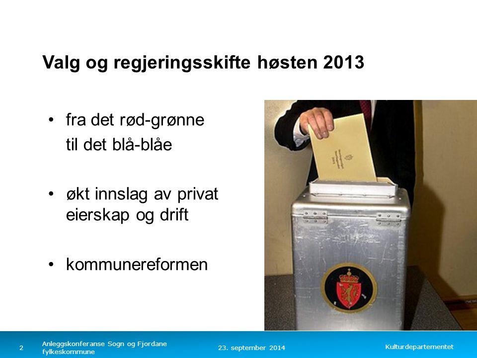 Valg og regjeringsskifte høsten 2013