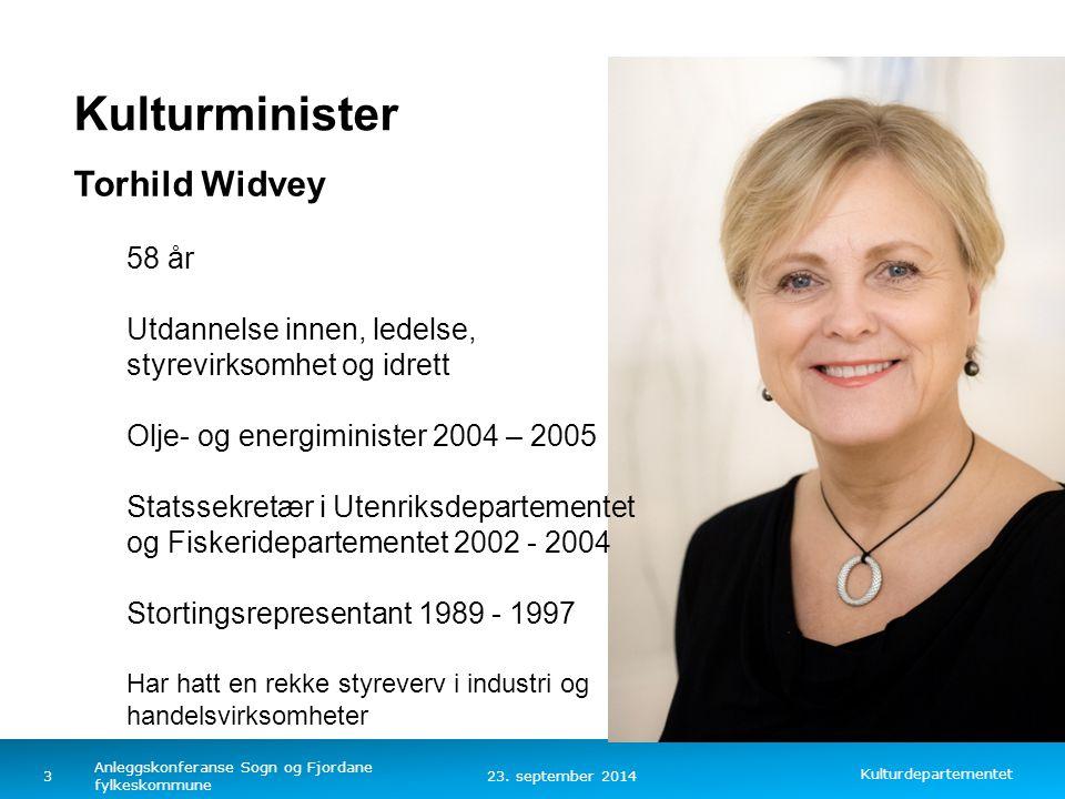 Kulturminister Torhild Widvey 58 år