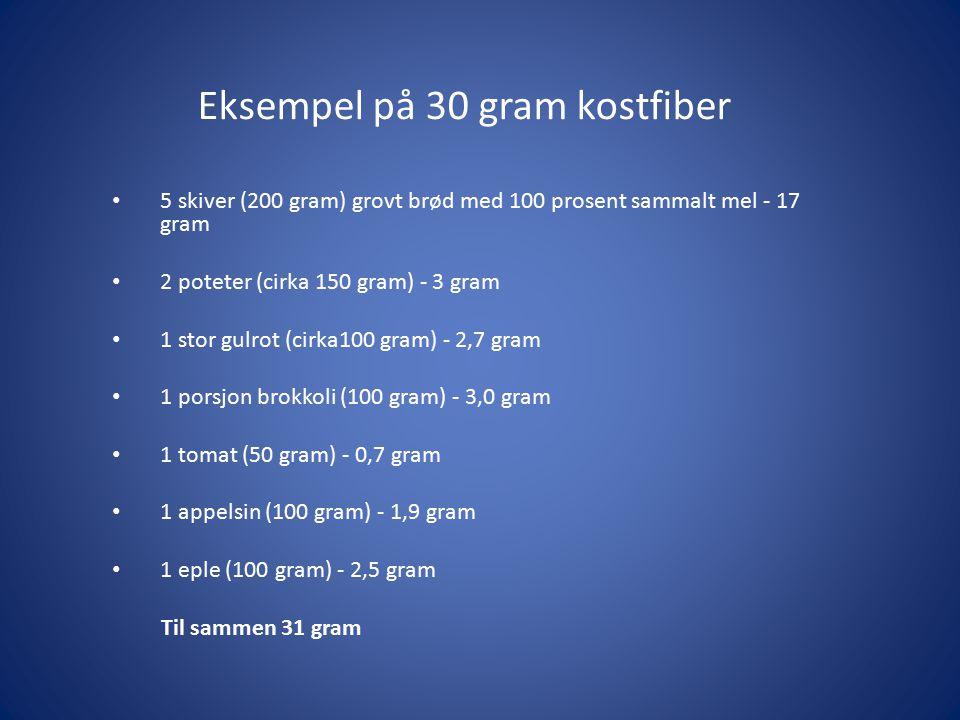 Eksempel på 30 gram kostfiber