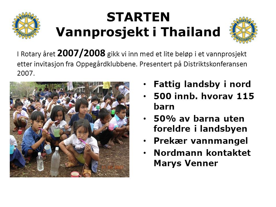 STARTEN Vannprosjekt i Thailand