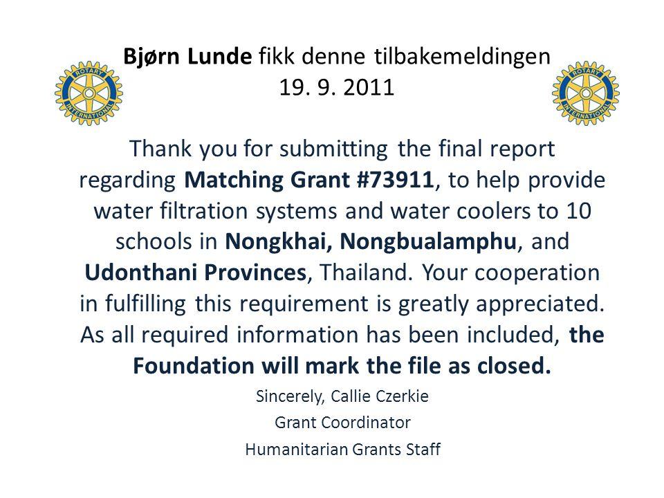 Bjørn Lunde fikk denne tilbakemeldingen 19. 9. 2011