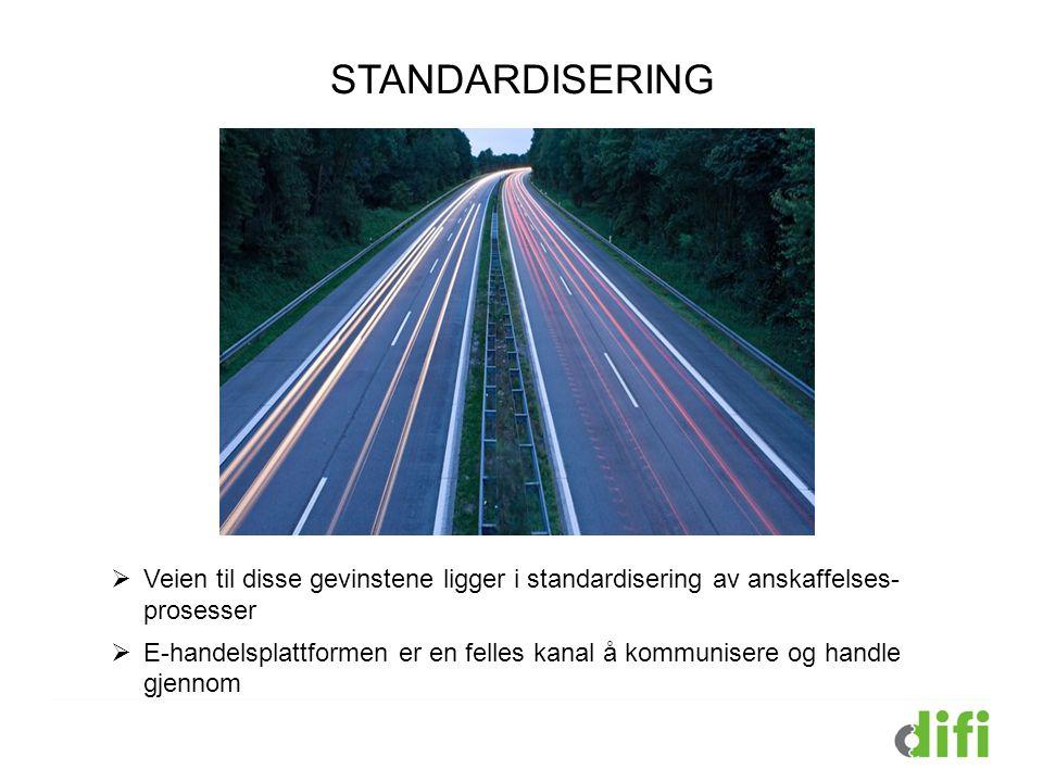 STANDARDISERING Veien til disse gevinstene ligger i standarisering. STANDARISERING.