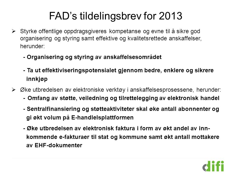 FAD's tildelingsbrev for 2013