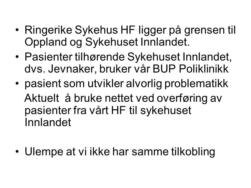 Ringerike Sykehus HF ligger på grensen til Oppland og Sykehuset Innlandet.