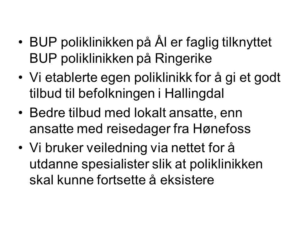 BUP poliklinikken på Ål er faglig tilknyttet BUP poliklinikken på Ringerike