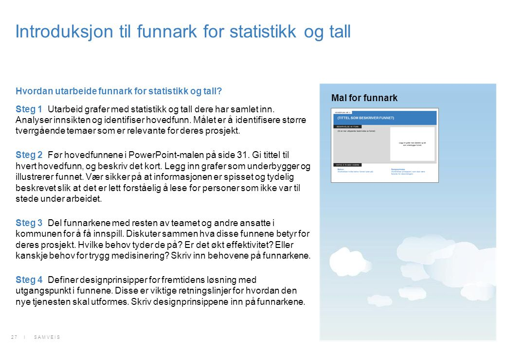 Introduksjon til funnark for statistikk og tall