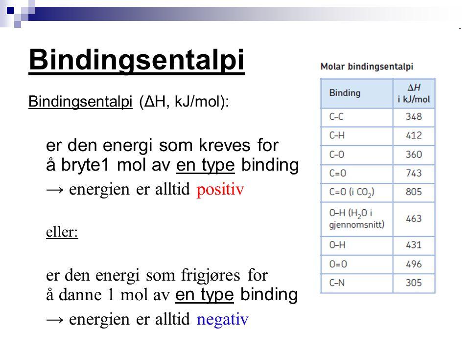 Bindingsentalpi → energien er alltid positiv