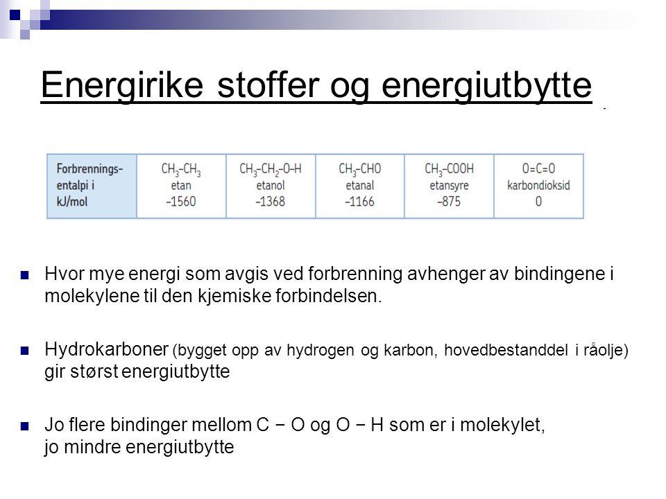 Energirike stoffer og energiutbytte