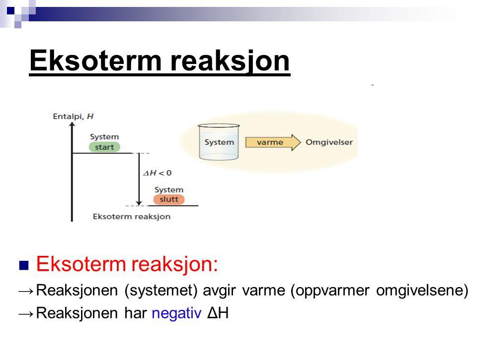 Eksoterm reaksjon Eksoterm reaksjon: