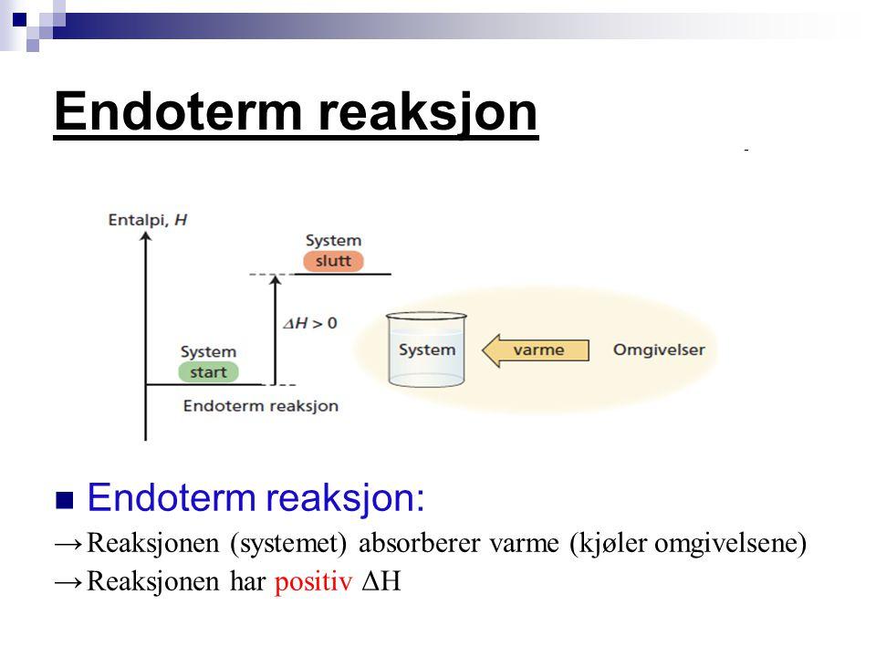 Endoterm reaksjon Endoterm reaksjon: