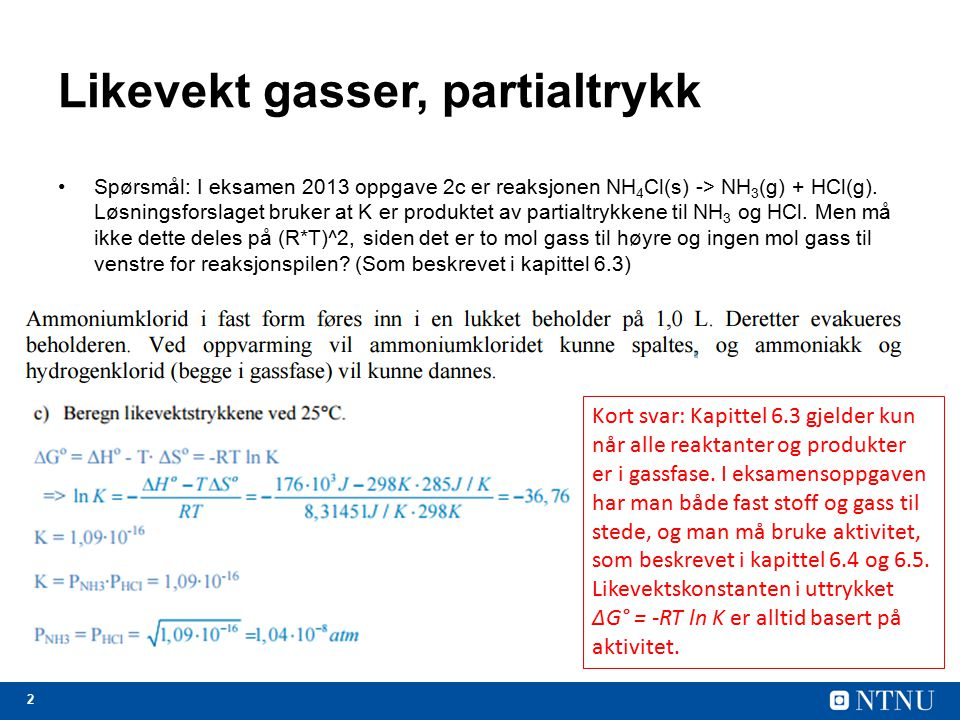 Likevekt gasser, partialtrykk