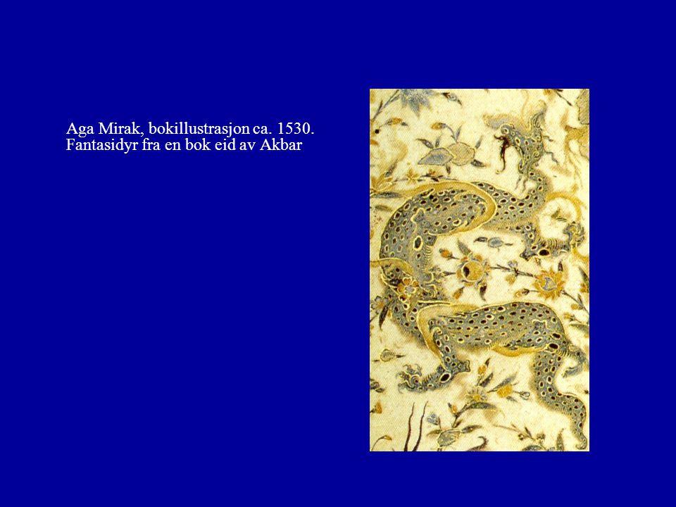 Aga Mirak, bokillustrasjon ca. 1530. Fantasidyr fra en bok eid av Akbar