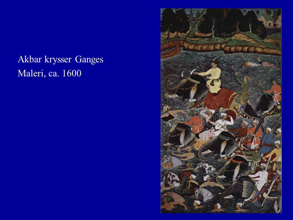 Akbar krysser Ganges Maleri, ca. 1600