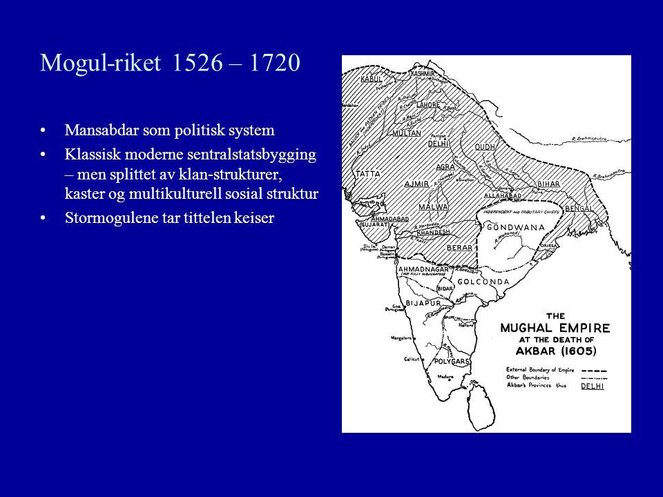 Mogul-riket 1526 – 1720 Mansabdar som politisk system