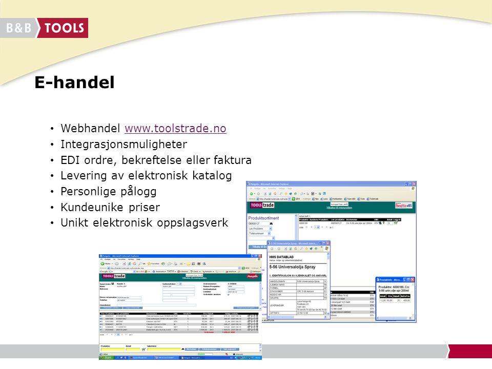 E-handel Webhandel www.toolstrade.no Integrasjonsmuligheter
