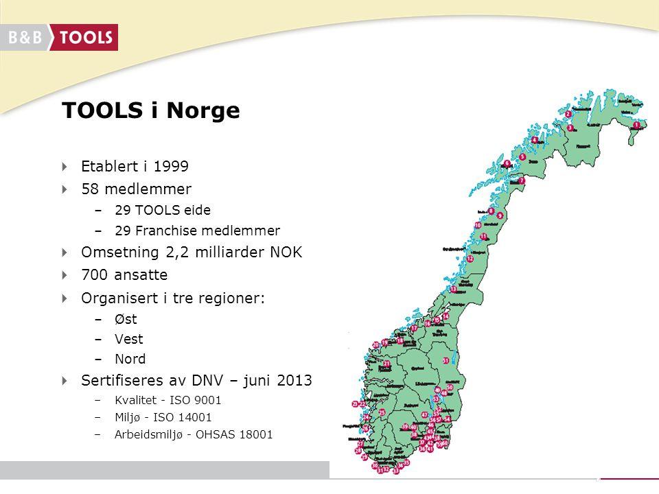 TOOLS i Norge Etablert i 1999 58 medlemmer