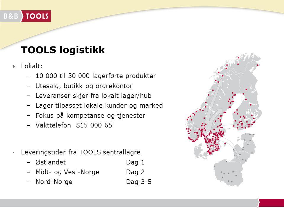 TOOLS logistikk Lokalt: 10 000 til 30 000 lagerførte produkter