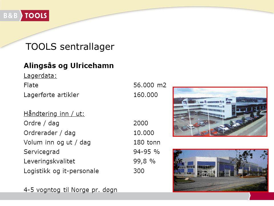 TOOLS sentrallager Alingsås og Ulricehamn Lagerdata: Flate 56.000 m2