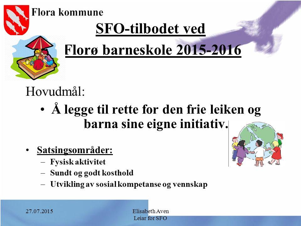 SFO-tilbodet ved Florø barneskole 2015-2016