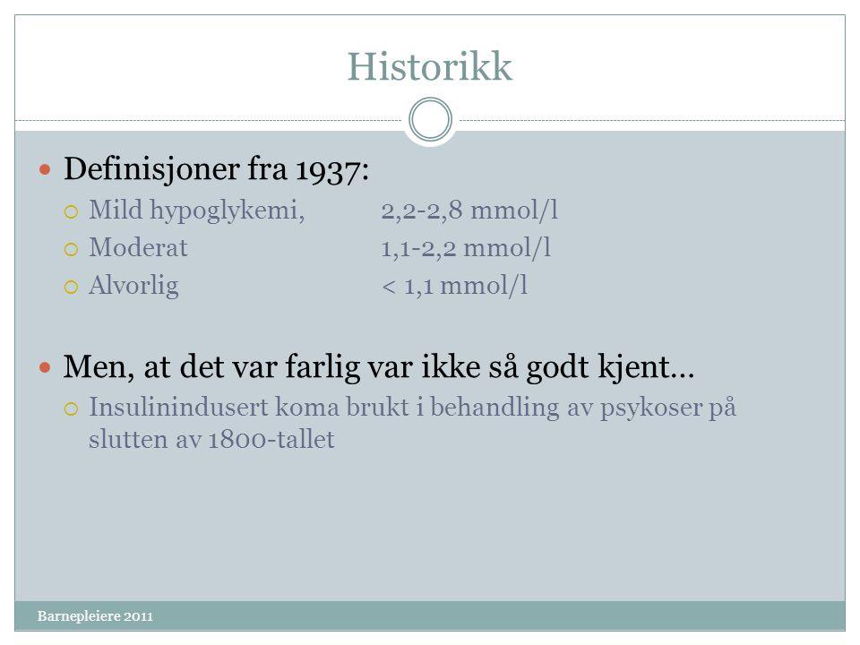 Historikk Definisjoner fra 1937:
