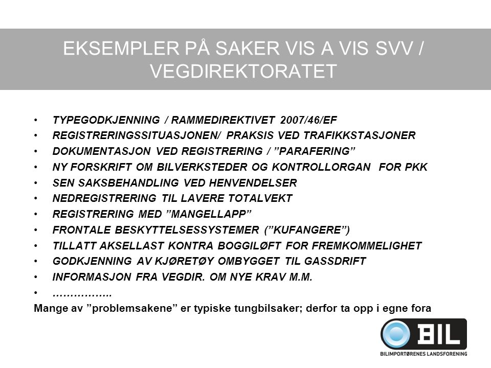 EKSEMPLER PÅ SAKER VIS A VIS SVV / VEGDIREKTORATET