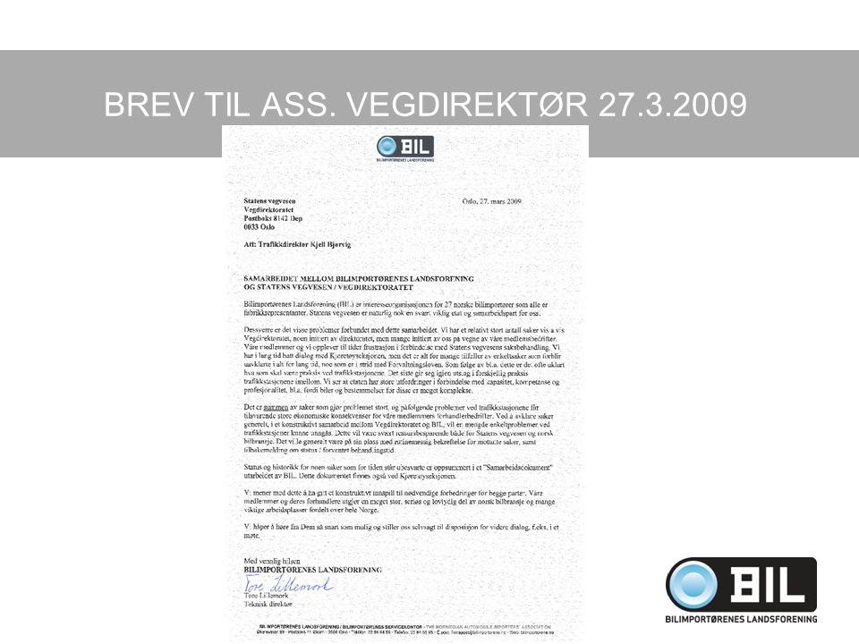 BREV TIL ASS. VEGDIREKTØR 27.3.2009