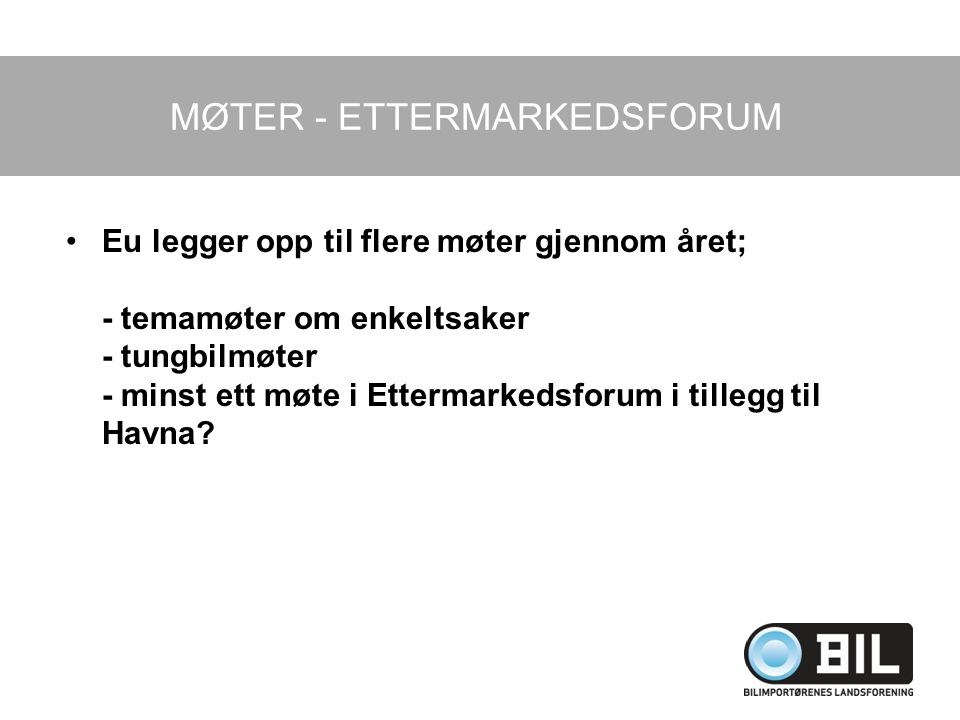 MØTER - ETTERMARKEDSFORUM