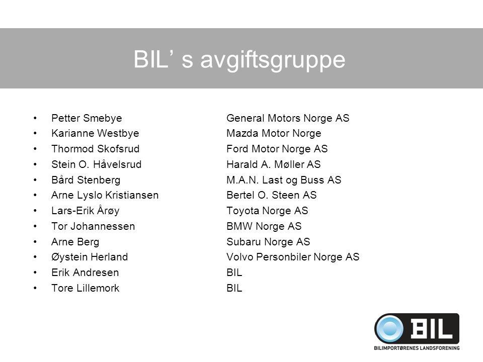 BIL' s avgiftsgruppe Petter Smebye General Motors Norge AS
