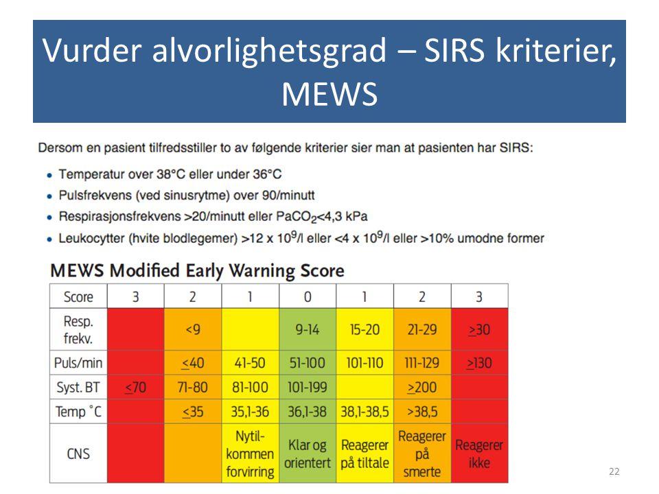 Vurder alvorlighetsgrad – SIRS kriterier, MEWS