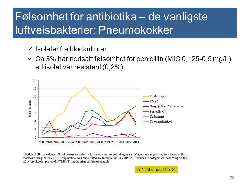 Følsomhet for antibiotika – de vanligste luftveisbakterier: Pneumokokker