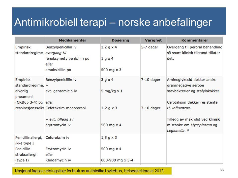 Antimikrobiell terapi – norske anbefalinger