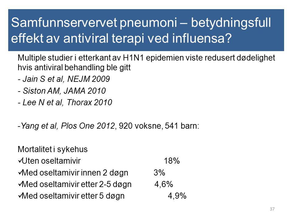 Samfunnservervet pneumoni – betydningsfull effekt av antiviral terapi ved influensa