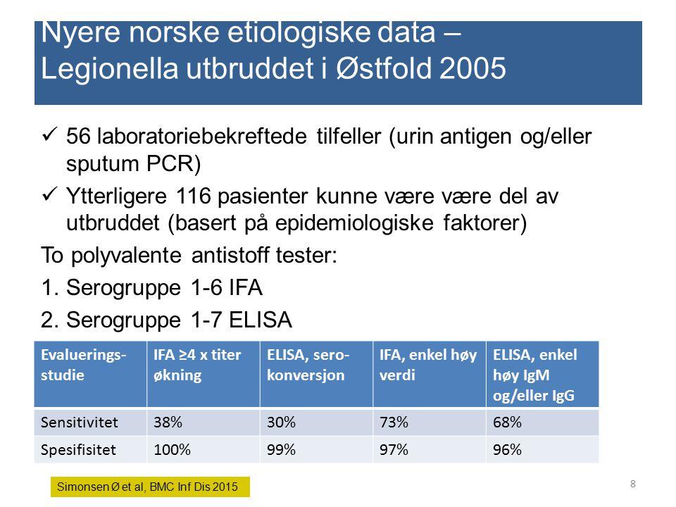 Nyere norske etiologiske data – Legionella utbruddet i Østfold 2005