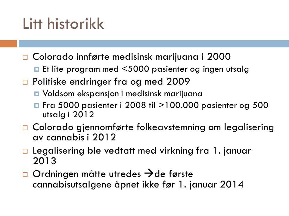 Litt historikk Colorado innførte medisinsk marijuana i 2000