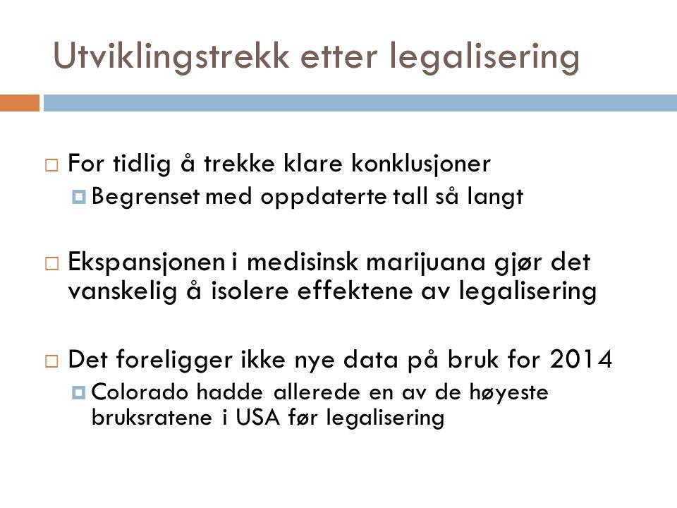 Utviklingstrekk etter legalisering