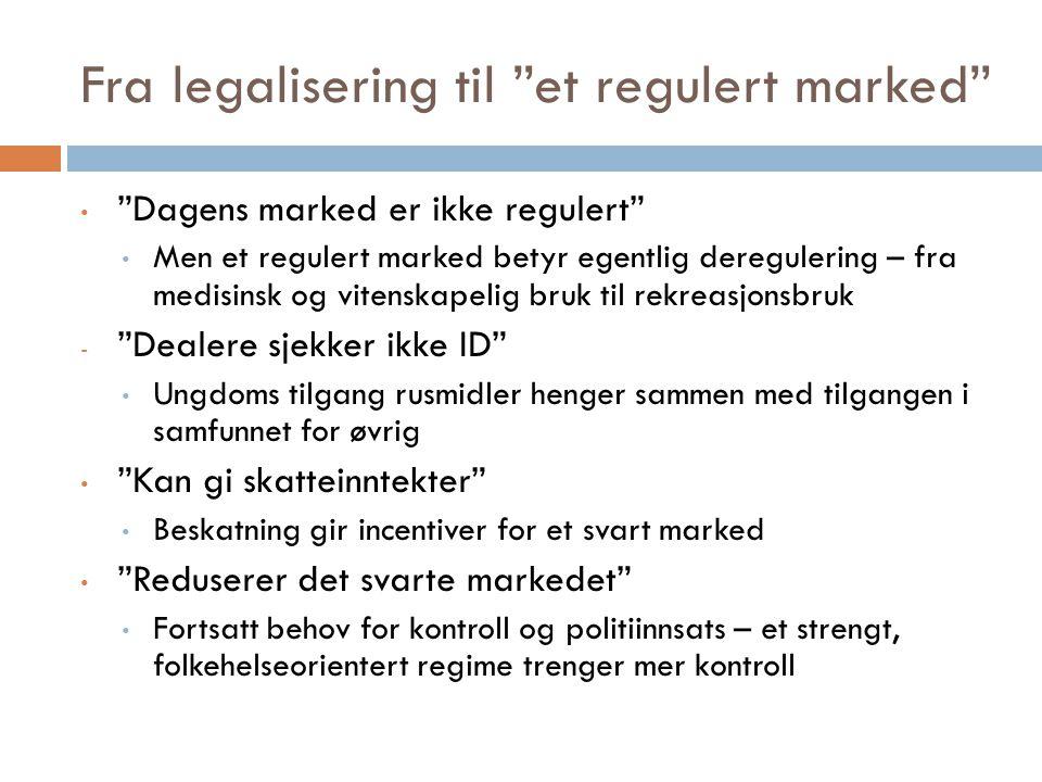 Fra legalisering til et regulert marked