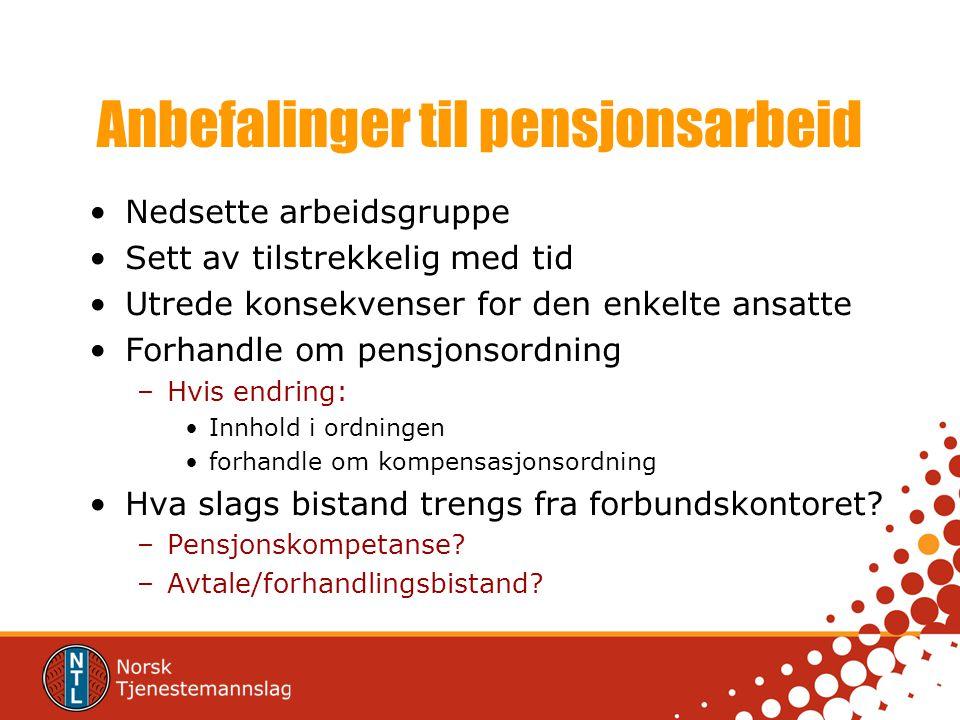 Anbefalinger til pensjonsarbeid