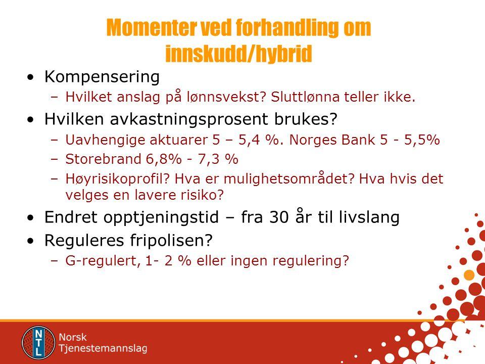 Momenter ved forhandling om innskudd/hybrid