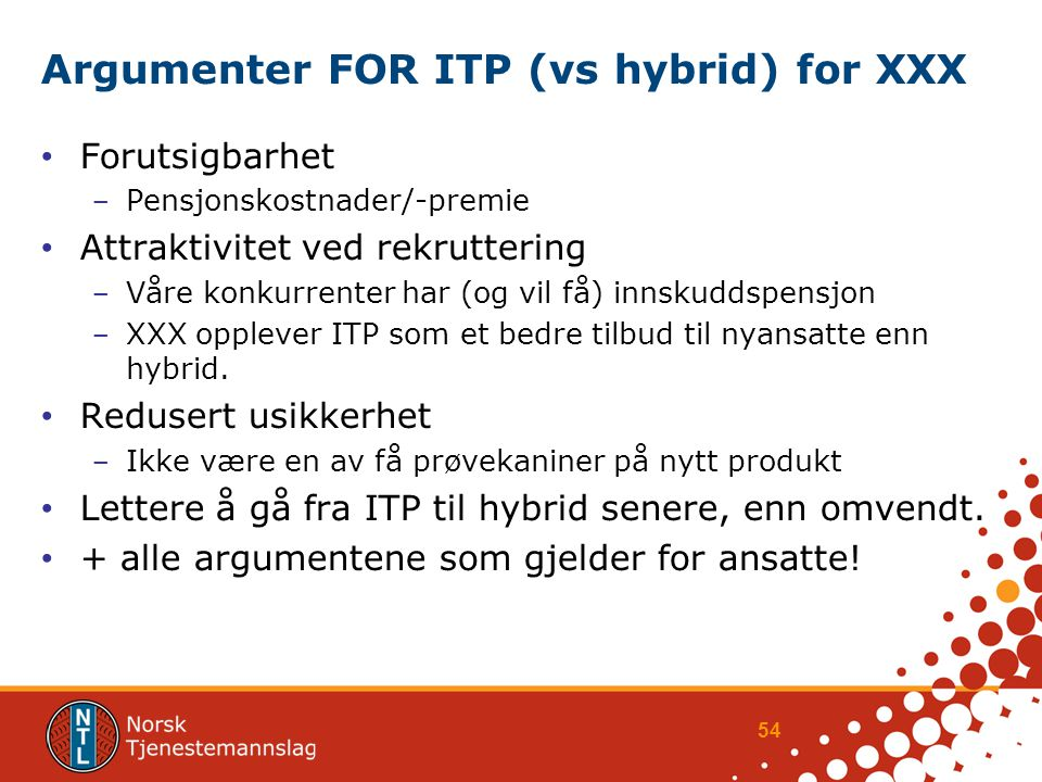 Argumenter FOR ITP (vs hybrid) for XXX